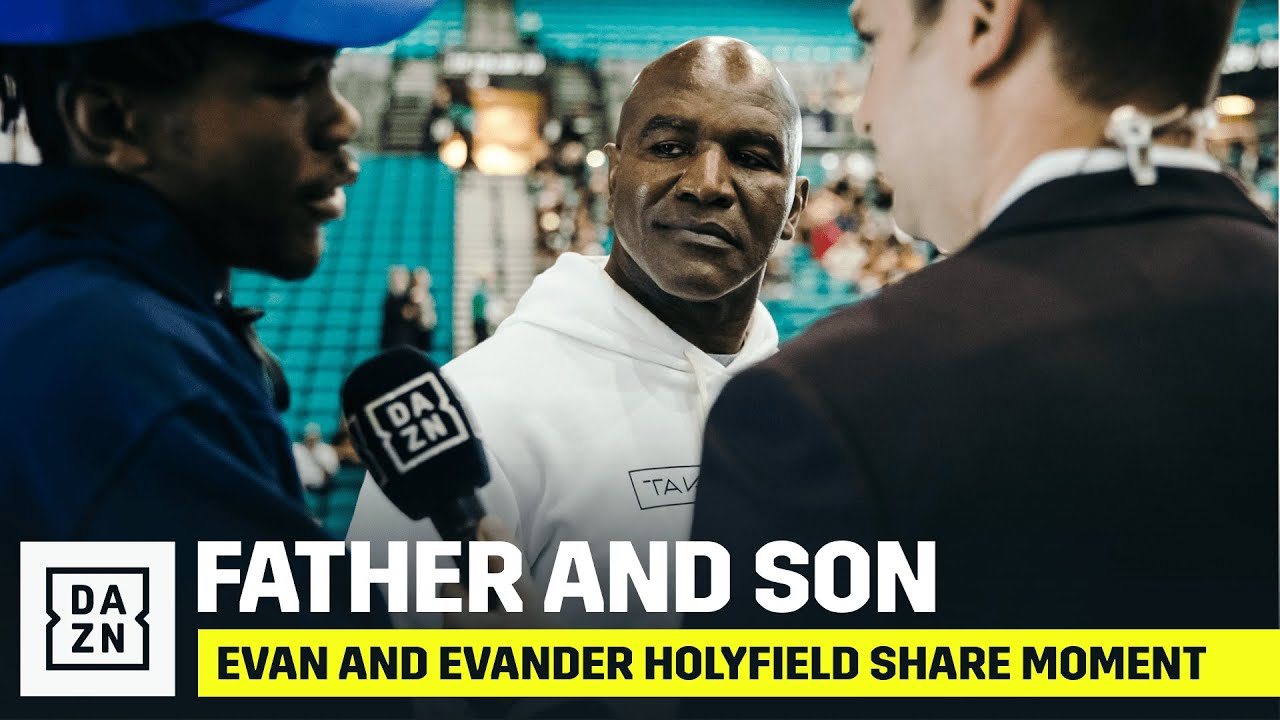 Evan & Evander Holyfield Share Special Moment At Weigh-In